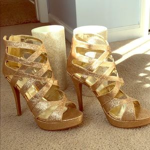 Sparkly gold 5 inch heels